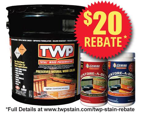 TWP 100 Series Deck Stain 5 Gallon and Gemini Cleaner/Brightener Kit