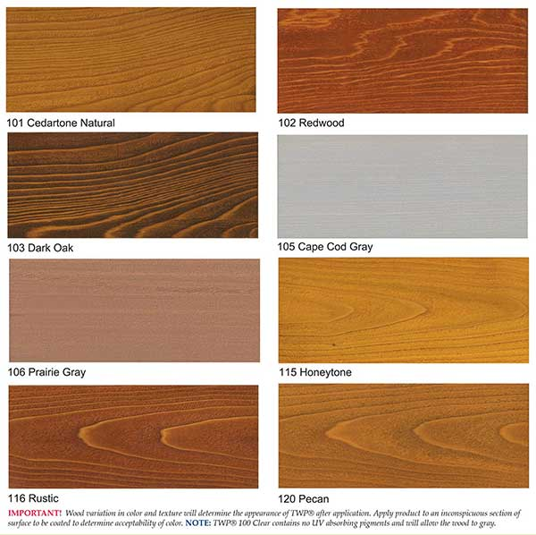 Twp Wood Stain Samples Colors 1500 Series And 100 Series Twpstain Com